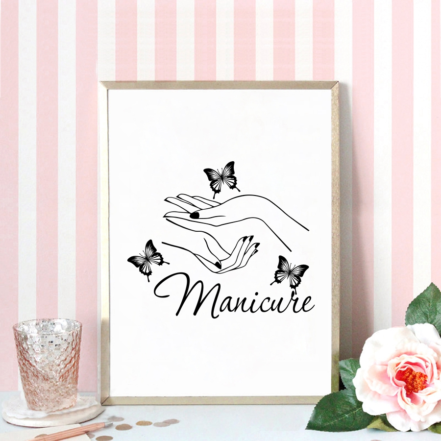 Us 2 57 20 Off Beauty Nail Salon Wall Art Decor Canvas Painting Poster Butterfly Hands Manicure Wall Picture Prints Nail Shop Wall Art Decor In