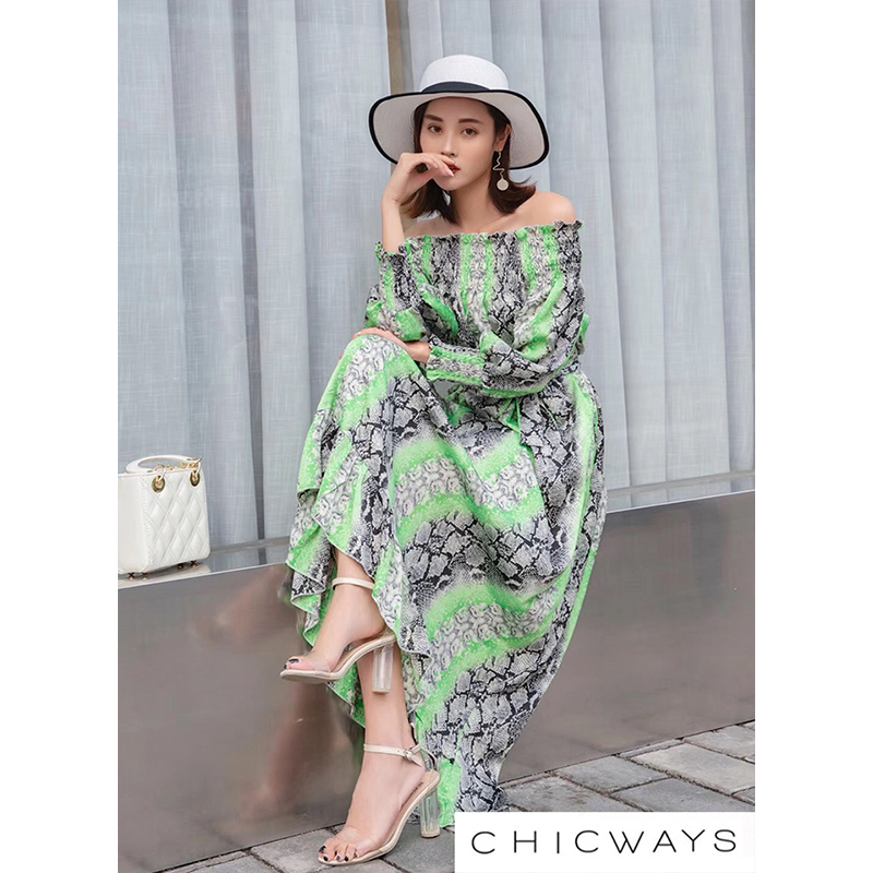 Chicways Woman Summer Snake Skin Print Satin Off Shoulder Maxi Dress Women's Leopard Ruffles Long Dress Vacation Neon Color
