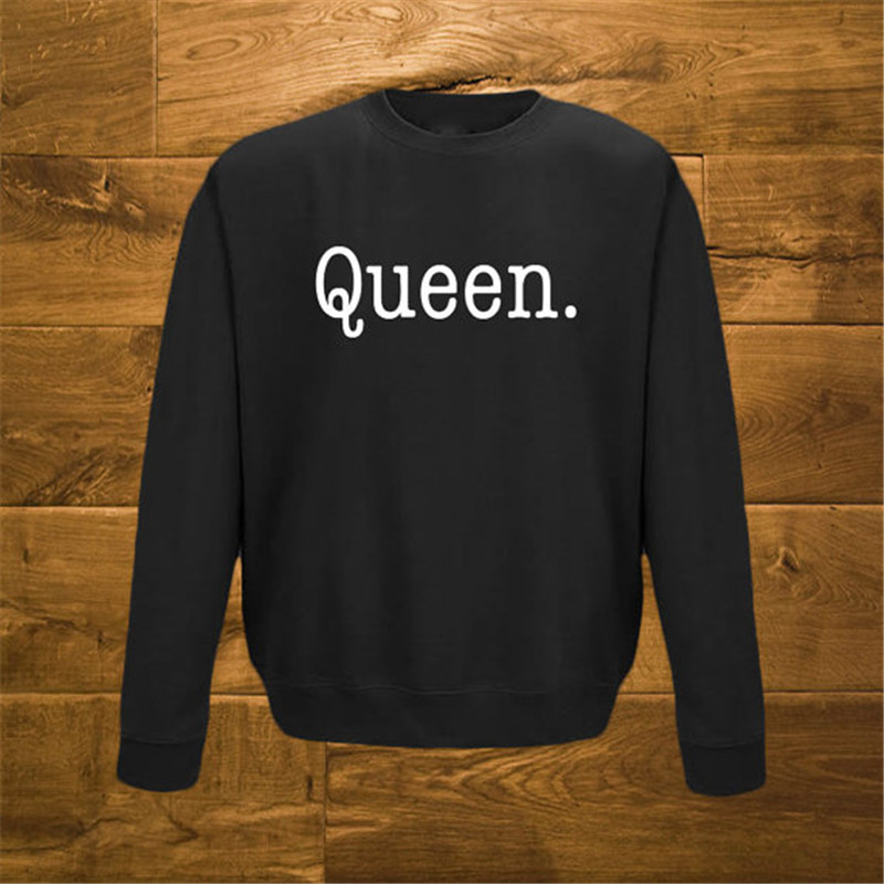 Funny Print Letter Queen Sweatshirt Women Pullover 2016 New Long Sleeve Crewneck Hoodies Homens Casual Tracksuit W-F10734