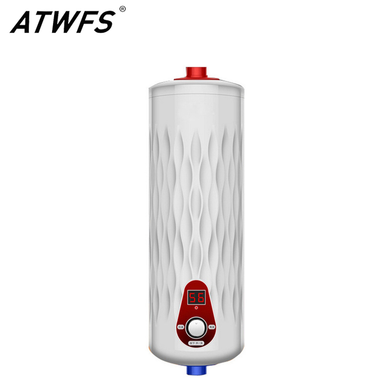 ATWFS High Quality 5500W 220V Instant Water Heater Thermostat Electric Digital Display Flow Heater Boiler Kitchen Hot Water atwfs tankless water heater 220v 5500w thermostat digital electric heater kitchen