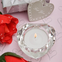 Free Shipping 80MM Clear Heart Shape Crystal Candle Holder For Wedding