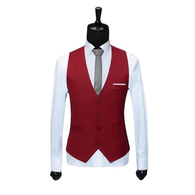 Classic Mens Suit Vest Formal Wedding Dress Slim Fit Men Waistcoat Man's V Collar Red Black Brand Solid Blazer Vests For Men