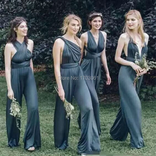 Convertible 2017 Newest Ink Navy Blue Chiffon Jumpsuits Bridesmaid