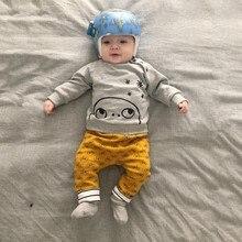 Комплект одежды для маленьких мальчиков и девочек, теплая Повседневная футболка для малышей, блузка, брюки, осенняя одежда с рисунком