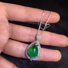 AIGS Fine Jewelry Certificate Real 18K White Gold AU750 Natural Green Emerald 8.79ct Gemstones Pendants for Women Fine Necklace noble jewelry emerald cut 6x8mm solid 18k two tone gold natural diamond tanzanite pendants jewelry for women wp070