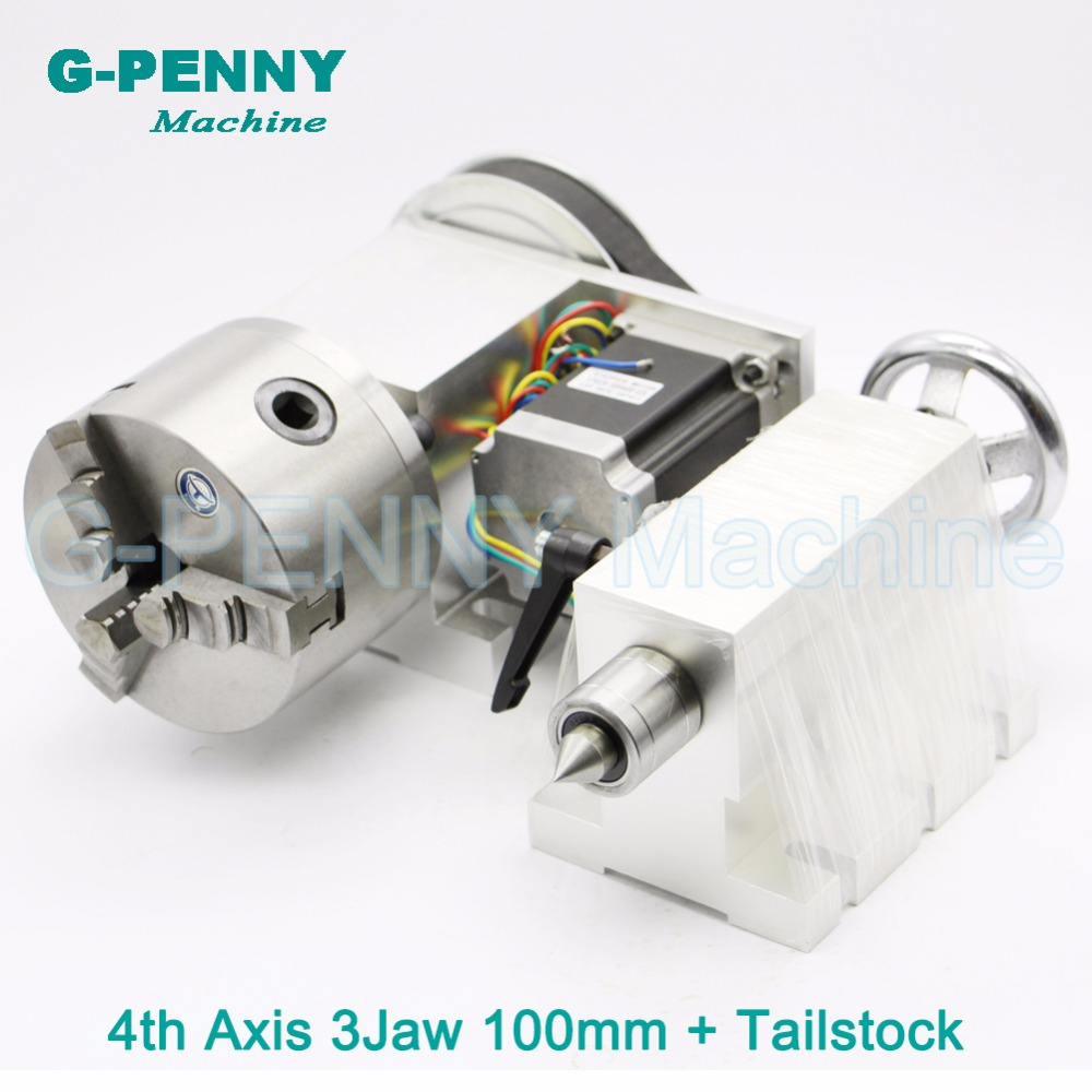 3 Jaw 100mm CNC 4th Axis+Tailstock CNC dividing headRotation AxisA axis kit for Mini CNC routerengraver woodworking engraving