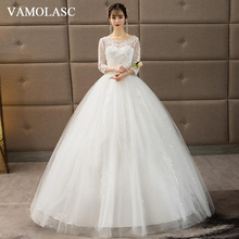 VAMOLASC Crystal O Neck Bow Sash Ball Gown Wedding Dresses Lace Appliques Illusion Sleeve Backless Bridal Gowns