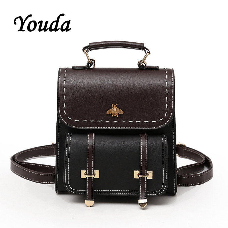 Youda Women's Backpack Color Matching PU Material Schoolbag Mini Multi Purpose Ladies Small Backpacks Fashion Wild Shoulder Bag