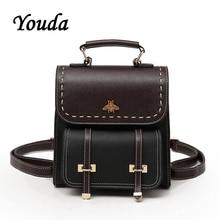 Youda Womens Backpack Color Matching PU Material Schoolbag Mini Multi Purpose Ladies Small Backpacks Fashion Wild Shoulder Bag