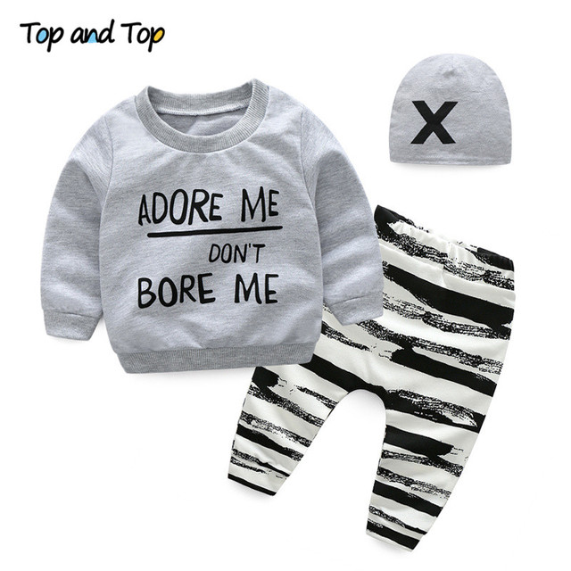 a5085bb1c Top and Top Unisex Baby Clothing Set Newborn Long Sleeve Letters  Sweatshirt+Casual Pants+Hat 3Pcs Tracksuit Infant Clothing Sets
