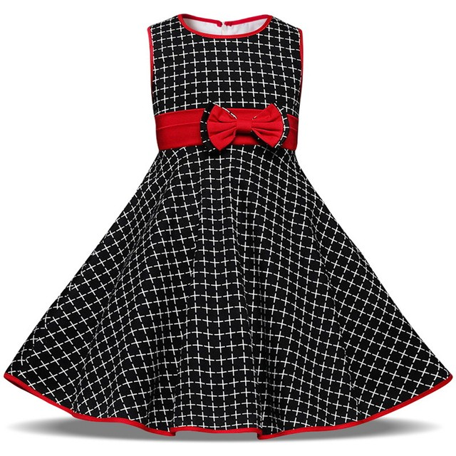 2019 Little Girl Summer Dress Black Plaid Kids Dresses For Girl Party Wear Children Birthday Baby 2 3 4 5 6 Years Casual Clothes