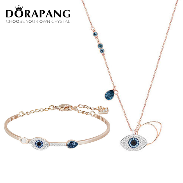 DORAPANG New Duo Evil Eye Pendant Blue Mixed Plating Original Copy Necklace Bracelet For Women Manufacturer Wholesale Free Mail