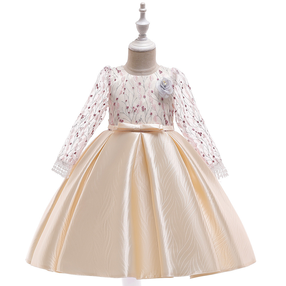 Beauty Champagne Long Sleeves Lace Princess   Flower     Girls     Dress   for Wedding Little Kids Pageant Gowns Party   Dress   2019