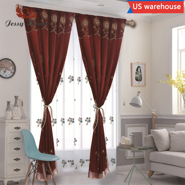 JESSY HOME Window Curtain Embroidered Polyester 2 Pieces