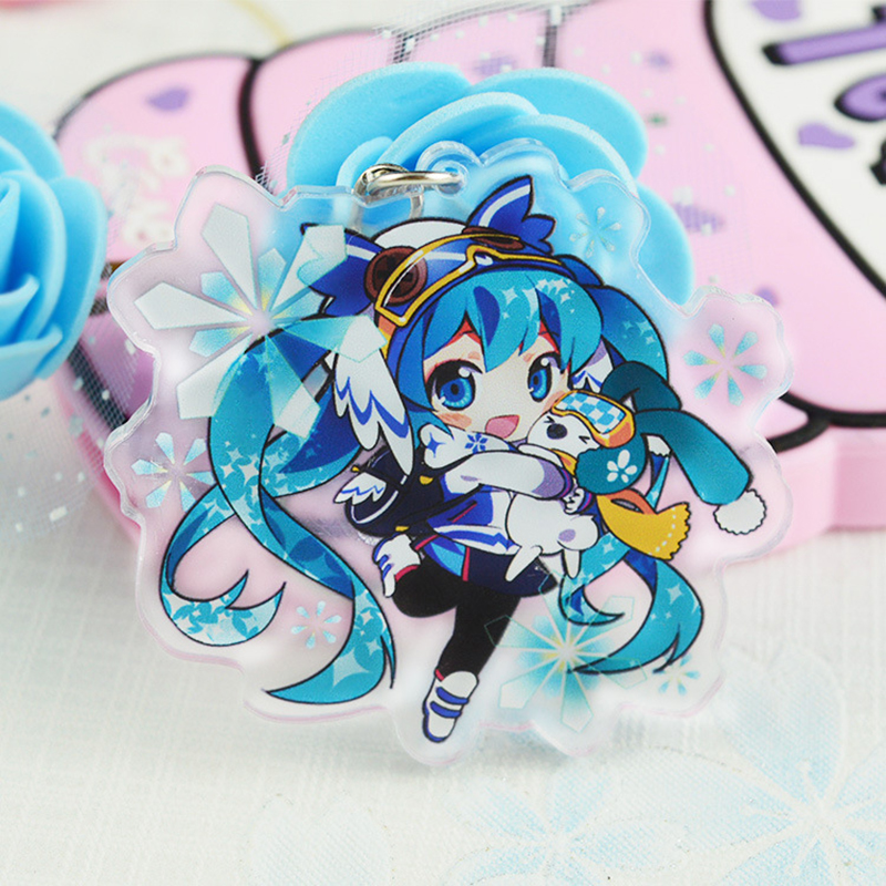 Anime Hatsune Miku Acrylic Keychain Cartoon Figure Pendant Transparent Key Ring