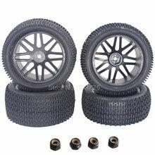 4 Unids/lote RC Neumáticos y Llantas De Goma Buje Hexagonal 12mm Para 1/10 escala Nitro Off Road Buggy Eléctrico Delantero/Trasero 2wd 4wd Neumáticos