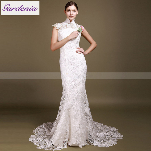 Fashionable Y Vestido De Noiva Stand High Collar Full Lace Wedding Dress Open Back Mermaid