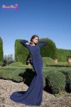 Sexy Backless Langarm Nixe-abend-kleider Party Elegant Mit Bogen Vestido De Festa Bodenlangen Günstige Abendkleid 2015