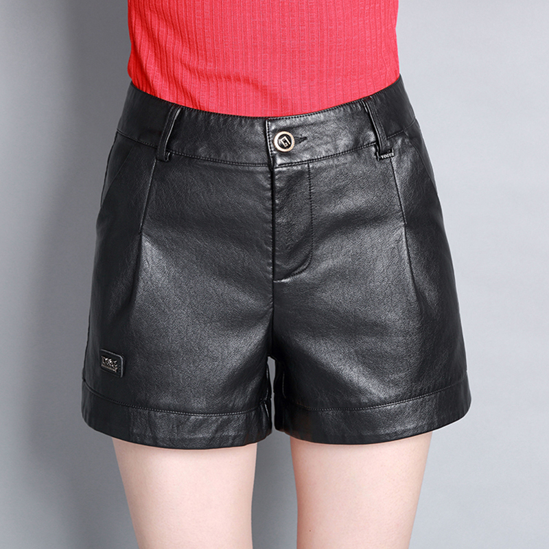 2017 New Women's Autumn PU Leather Shorts Slim High Waist Ladies Plus Size High Quality Fashion Pocket Short Plus Size L-4XL