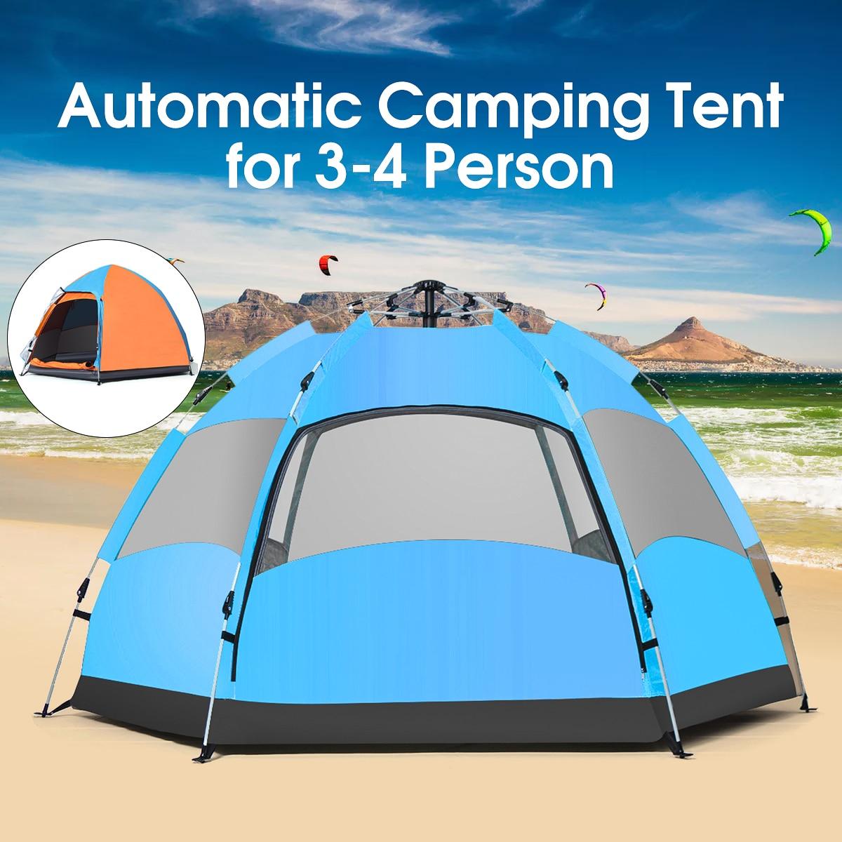 SGODDE extérieur 3-4 personnes tente de Camping automatique imperméable à l'eau Double couche UV plage parasol auvent