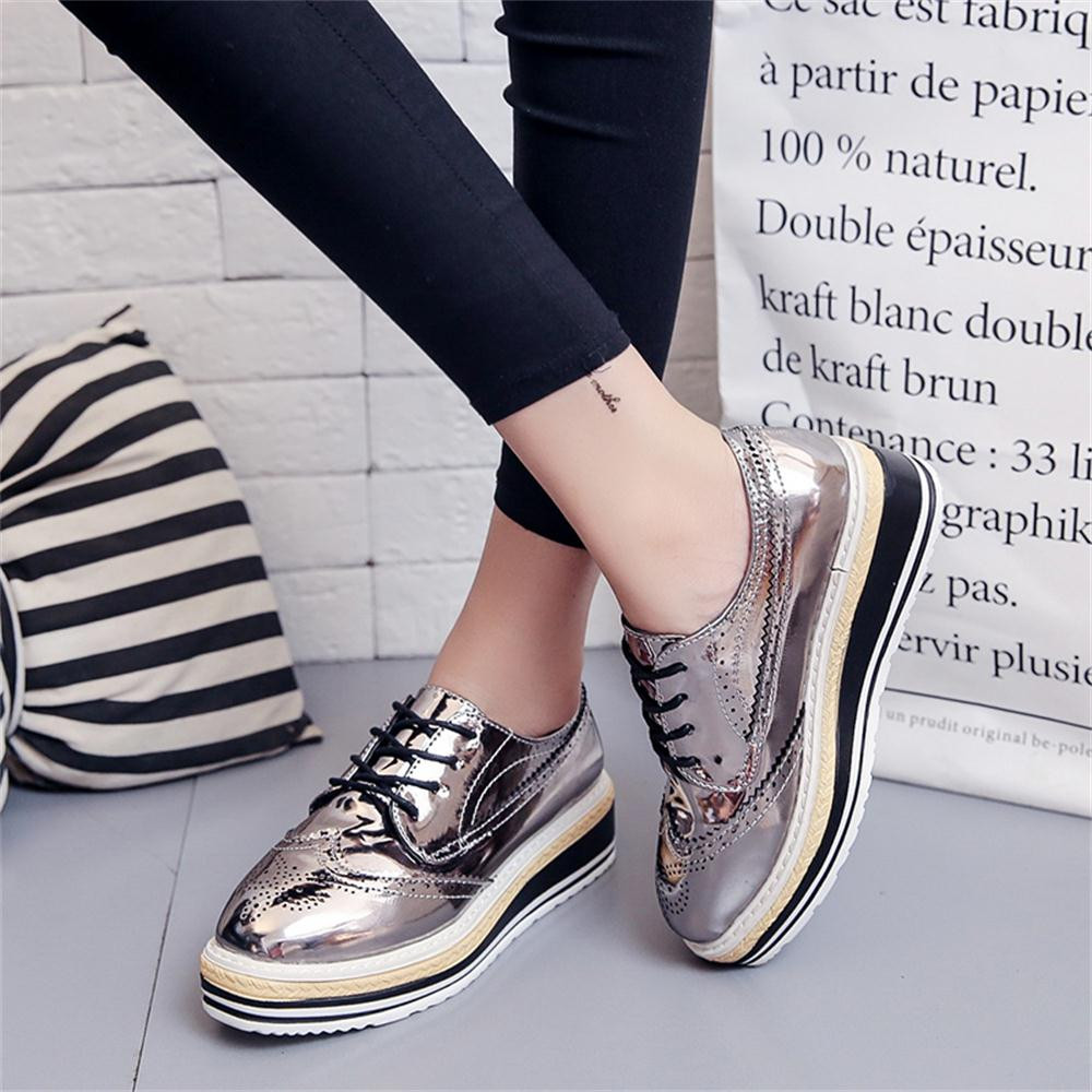 Women Outdoor Leather Casual Sports Shoes Lace-Up Thick-Soled Increase Shoes italian shoe and bag set for party in women blue #8 22