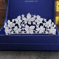 Large Full Zircon Tiara Copper Zircon Tiaras Micro Pave CZ Bride Crown Wedding Hair Jewelry Diadem Mariage Bijoux Coroa WIGO1038
