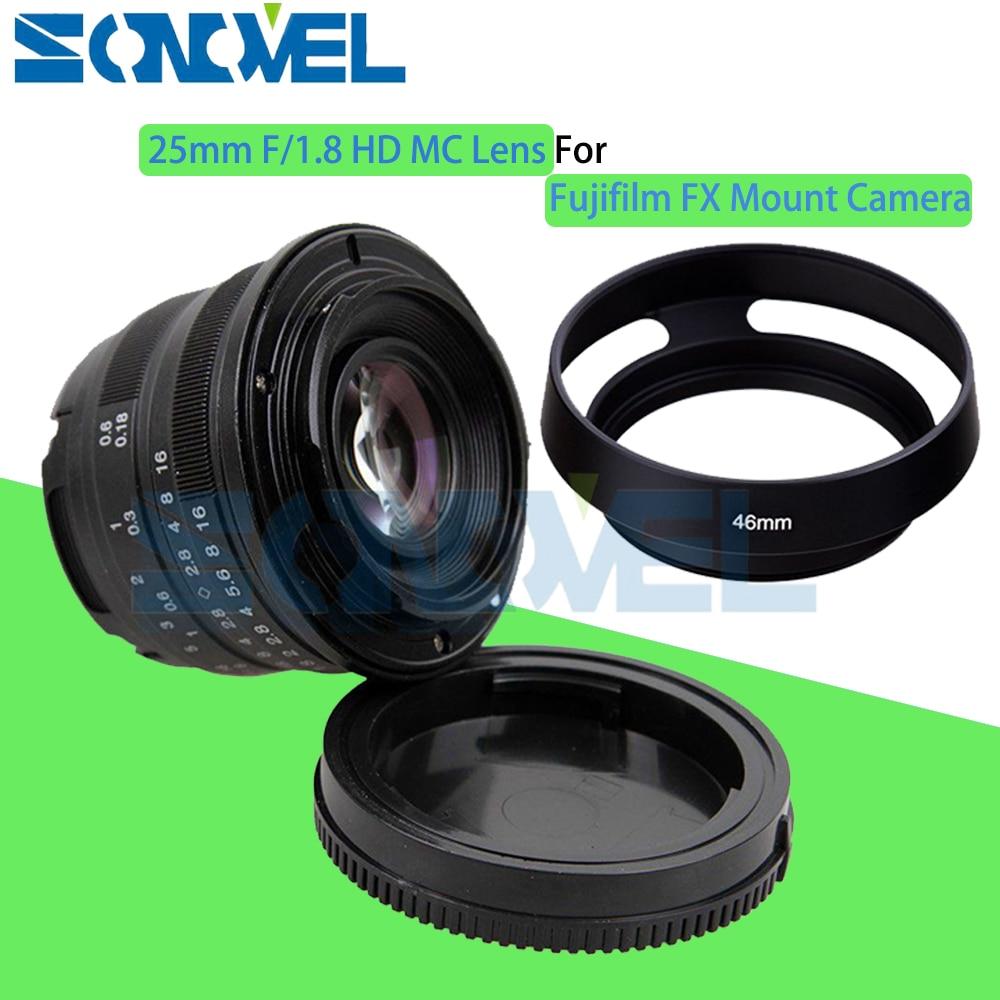 Black 25mm F/1.8 HD MC Manual Focus Wide Angle Lens+Hood for Fujifilm FX Camera X-T10 X-T2 X-PRO2 X-PRO1 X-E2 X-E1 X-M1 X-A3 black sliver 25mm f 1 8 hd mc wide angle manual focus lens for fujifilm fx camera x t10 x t2 x pro2 x pro1 x e2 x e1 x m1 x a3