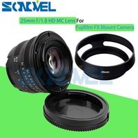 Preto 25mm F/1.8 HD MC Foco Manual Lente Grande Angular + Capa para Fujifilm X-PRO1 X-E1 X-E2 X-M1 FX Camera X-T10 X-T2 X-PRO2 X-A3