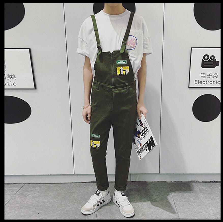2017 GD new spring and summer Rompers men overalls feet Slim suspenders jeans Siamese one piece trousers singer costumes pants