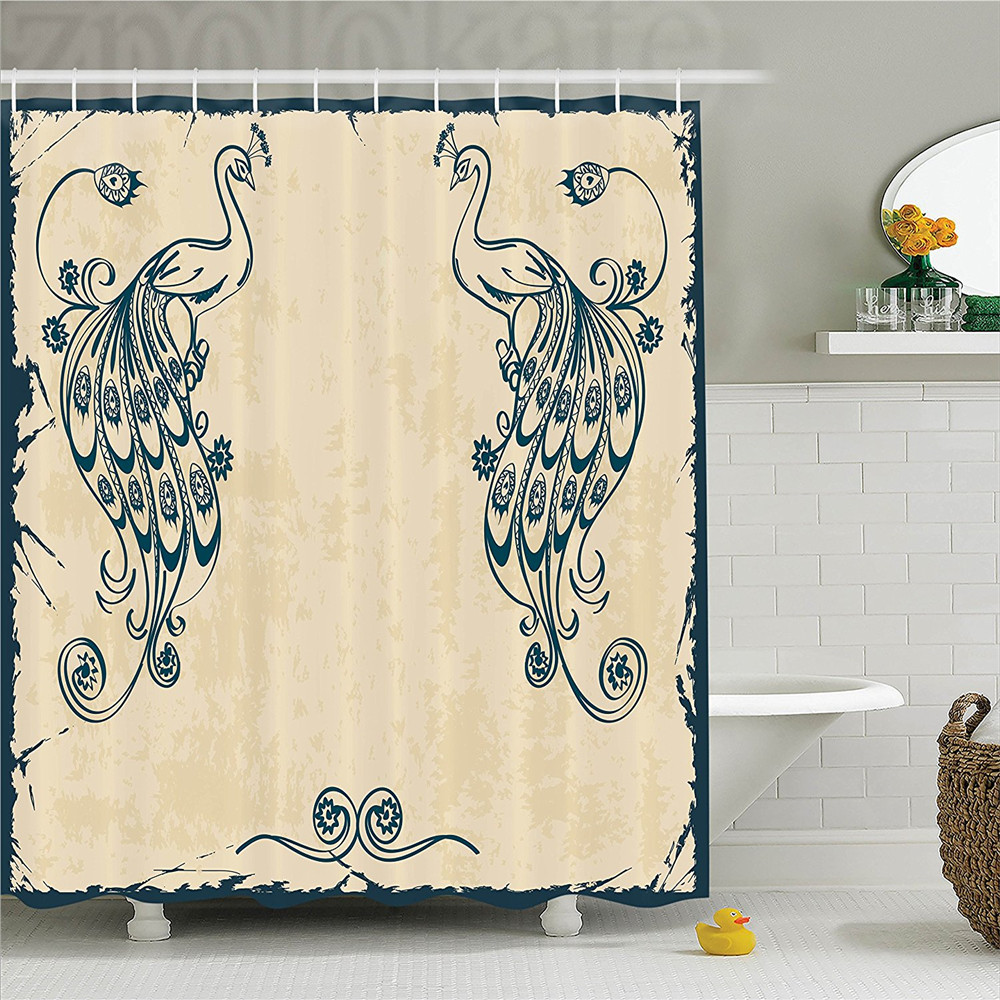 Peacock Decor Shower Curtain Set Vintage Style Artwork with Peacocks Ornamental Lines Classic Artful Home Deco Bathroom Accessor