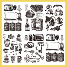 5pcs 2019 hand transparent silicone seal vintage coffee DIY decoration account rubber stamp 5