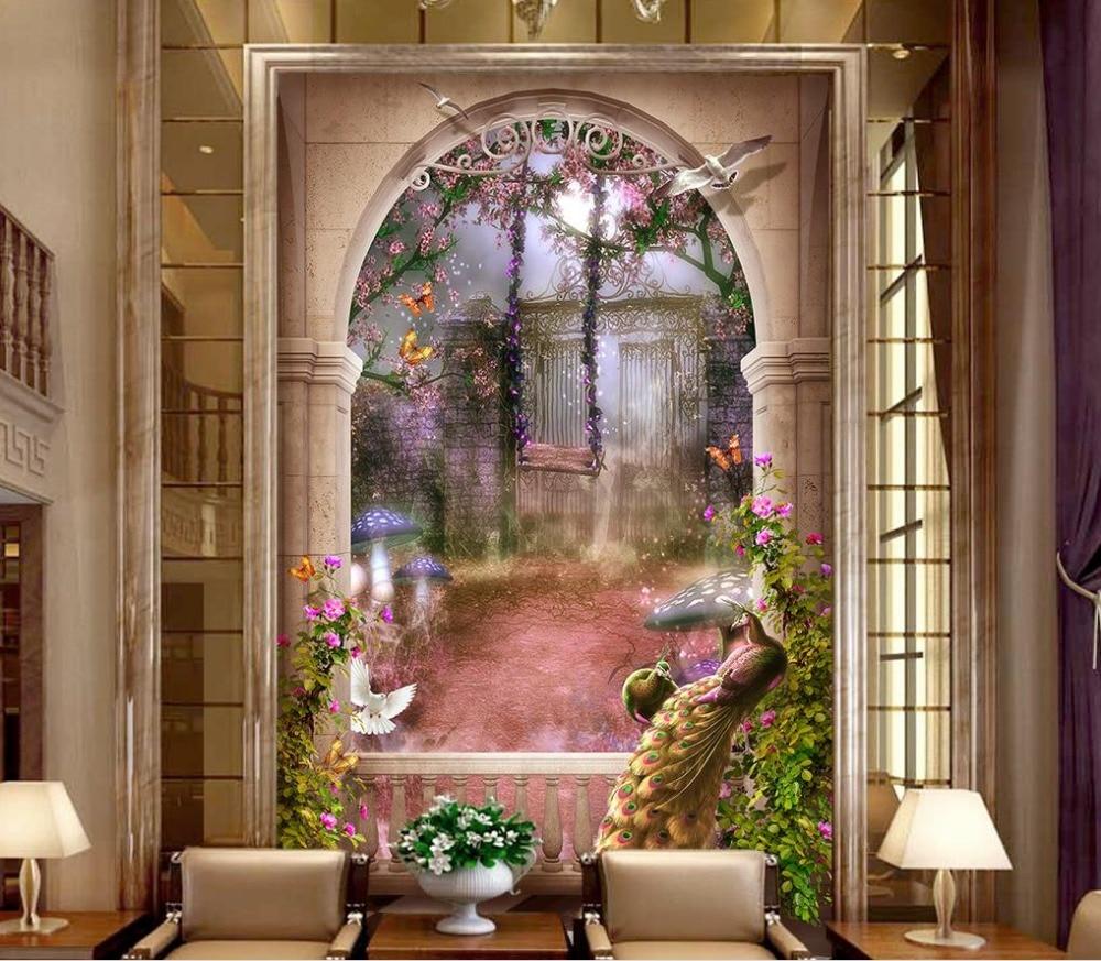 Us 15 98 53 Off 3d Tapete Europaischen Stil Garten Schone 3d Fantasie Hintergrund Flur Wand Badezimmer 3d Wallpaper In Tapeten Aus Heimwerkerbedarf
