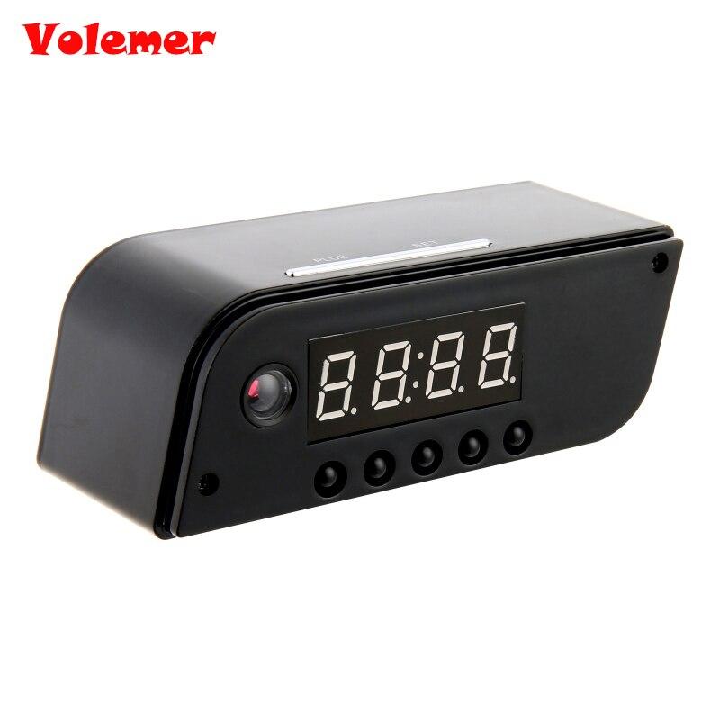 Volemer Hot Fashion Mini Camera Clock Alarm AP/STA 1280x720 Night Vision Dowmland Vedio Wifi Cam IP Mini DV DVR Camcorder PK Z10
