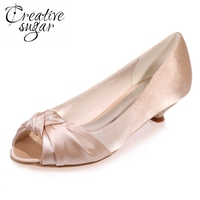Sweet Woman Open Toe Med Low Heels Satin Knot Party Wedding Banquet Evening Prom Shoes Champagne