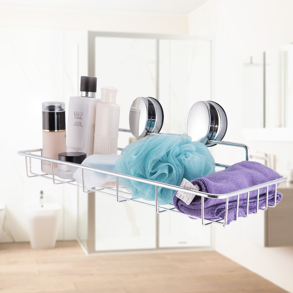Stainless Steel Bathroom Suction Strong Sucker Wall Basket Shampoo ...