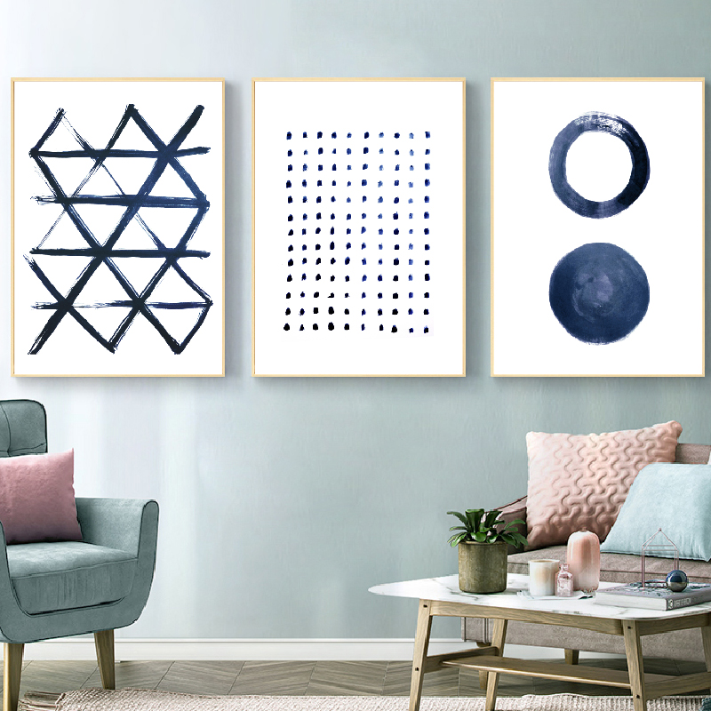 Indigo Wall Art Canvas Prints Scandinavian Posters Living Room Decoration , Modern Deep Blue Minimal Art Painting Wall Pictures