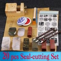 20 pcs/set Chinese Seal cutting Set Stamp Seal Stone cutting Graver Painting Knife Brush Art Set