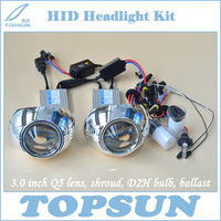 GZTOPHID Car Light Kit H4 Projector Lens 3 Inch Q5 Koito Bixenon, 35W Cnlight HID Xenon Bulb D2H, Ballast and Lens Cover
