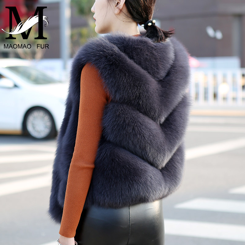 Women Natural Fox Fur Vest Solid Full Pelt Autumn Winter Warm Thick Sleeveless Coat Female Short