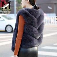 Women Natural Fox Fur Vest Solid Full Pelt Autumn Winter Warm Thick Sleeveless Coat Female Short Style Real Fox Fur Vests