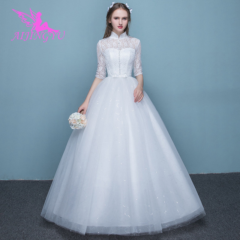 AIJINGYU 2018 Real Photos Free Shipping New Hot Selling Cheap Ball Gown Lace Up Back Formal Bride Dresses Wedding Dress FU282