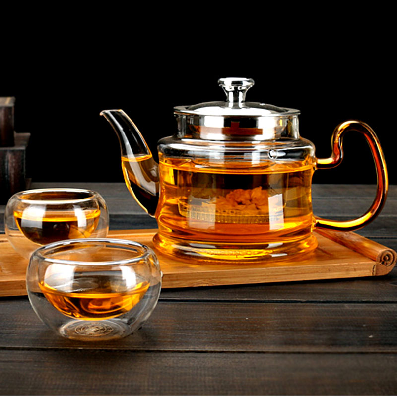 Image 3 - Good Clear Borosilicate Glass Teapot With 304 Stainless Steel Lid Glasses Infuser Strainer Heat Resistant Black tea pots-in Teapots from Home & Garden on AliExpress
