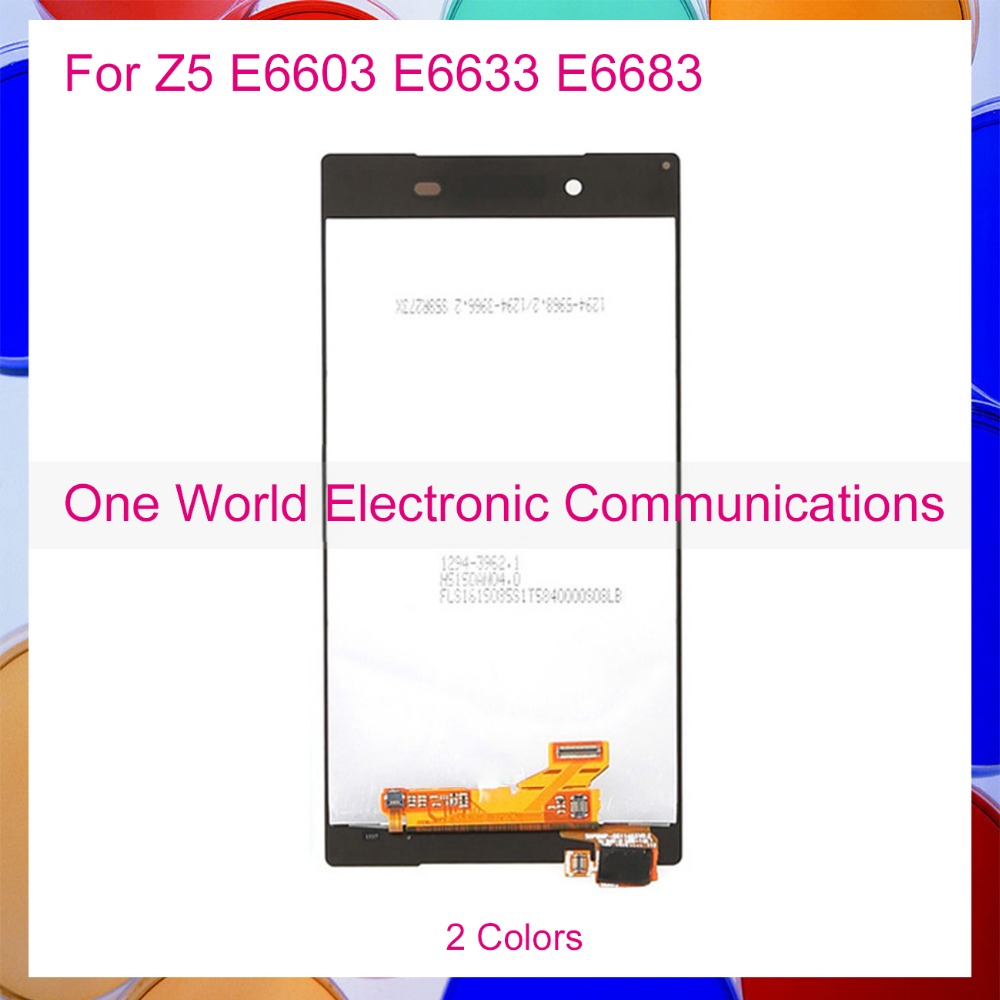 ФОТО One World For Sony Xperia Z5 E6603 E6633 E6653 E6683 Full LCD Screen Display Digitizer Screen Complete Assembly Black White