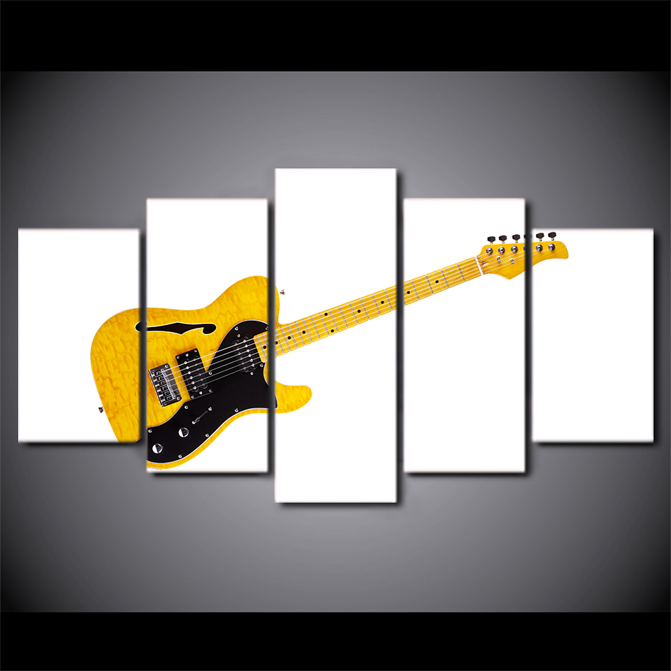 5 panneau toile Art musique jaune guitare peinture blanc mur photos encadrées modulaire peinture murale salon