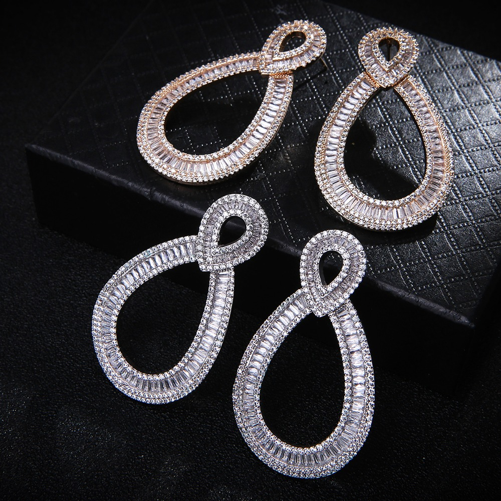 Fashion AAA Cubic Zirconia Pave Setting Baguette Stones Stud Earrings Women's Unique Jewelry,White colour Drop shipping E7644