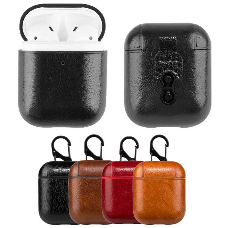 Business Earphone Case For Apple Airpods 2 Strap PU Leather Bluetooth Headphone For Air Pods Cover Case With Hook Accessories
