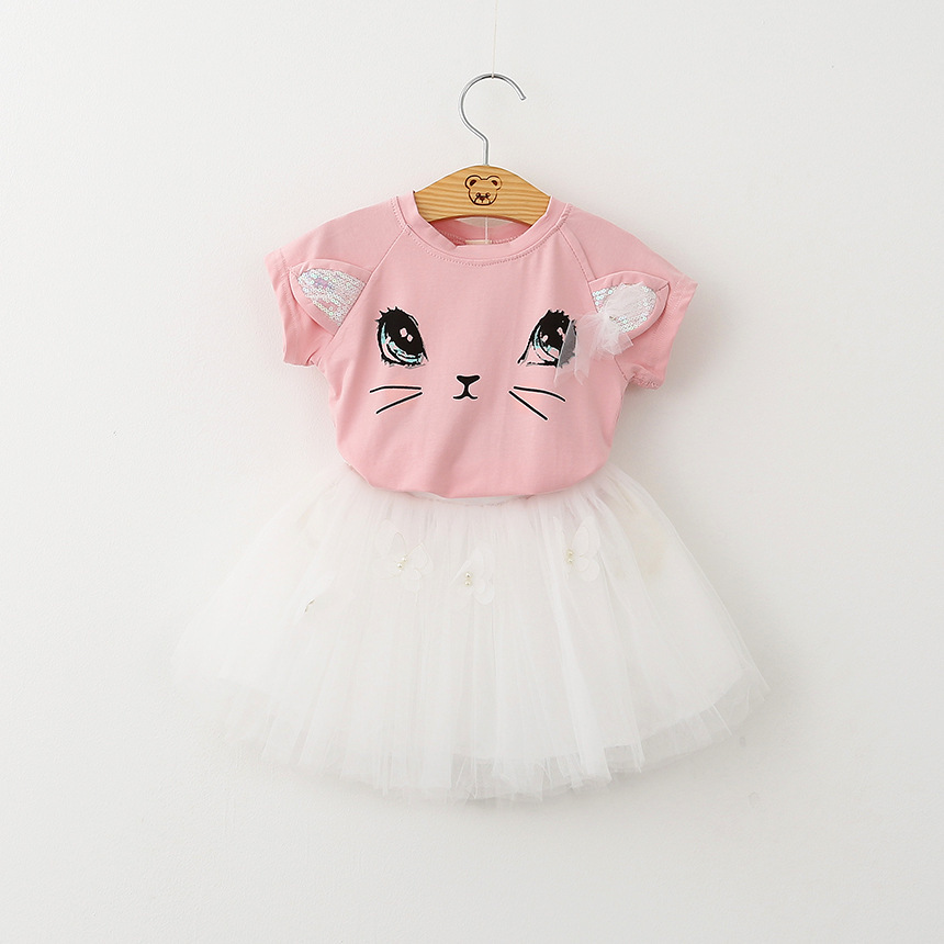 Fashion Girls Clothing 2017 Hot Sale Cartoon Cat Short Sleeve t Shirts Tutu Skirts Children Summer Clothes Butterfly Mesh Suits hot sale kids t shirts cartoon streetwear short sleeve casual o neck boys and girl t shirts tops funny children t shirt homme