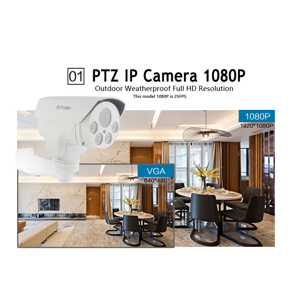 CTVMAN Security IP PTZ Camera Outdoor 1080P 960P 4X 10X Optical Zoom Lens 5.1-51mm Pan Tilt LED Array IR 50M ONVIF Bullet IP Cam