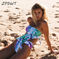 ZPDWT Sexy Bandeau Monokini One Piece Swimsuit Floral Swimwear Women Bathing Suit Leaf Swim Wear High