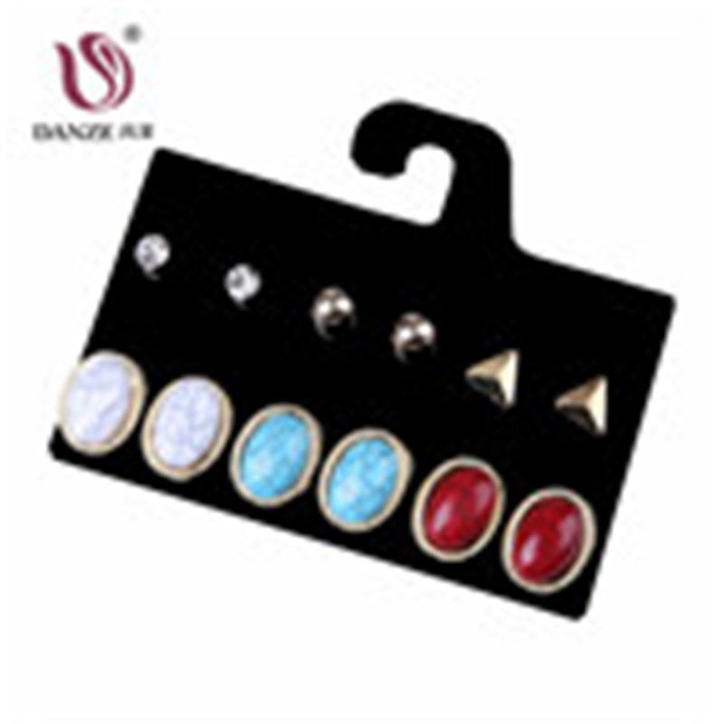 DANZE Punk 6 Pairs Women Blue & Red Crack Stone Stud Earrings Set Girls Retro Vintage Claires Crystal Earrings Jewelry Pusety